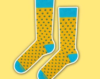 Joey - happy yellow blue polka dot socks | gift socks | cool socks | women socks | men socks | cute socks | dress socks | casual socks