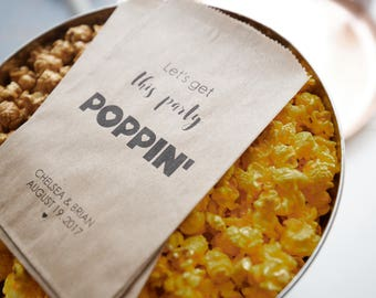 Wedding Popcorn Bags - Lets get this party POPPIN'