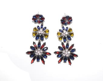 3 Layered Crystal Floral Dangling Earrings