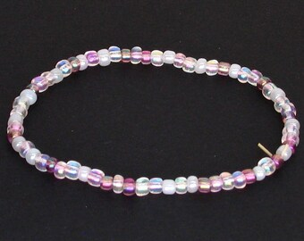 Shades of Pink With White Elastic Beaded Bracelet