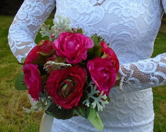 Scarlett Ranunculus Silk Bouquet