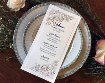 NEW! Emma Lasercut Wedding Menu - Wedding Reception Item, Wedding Menu, Menu, Reception Stationery, Laser Cut menu, Lace Menu, Lace lasercut