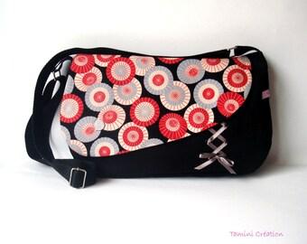 Sac besace, sac à main femme tissu japonais noir Ombrelles rouges