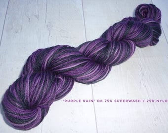 Purple Rain DK 100g purple dark grey yarn nylon wool yarn double knit self striping hand dyed knitting crochet gift