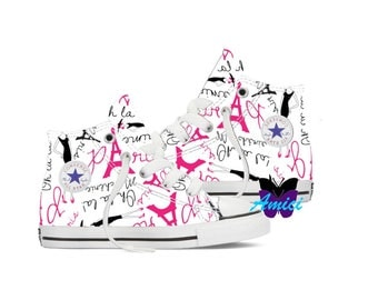Custom Paris themed Converse Shoes! Ooh La La!
