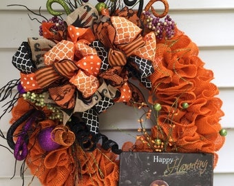 Halloween Burlap Wreath, Orange Burlap Wreath, Halloween Decor, Front Door Wreath, Halloween Door Wreath, Halloween Wreath, Ruffled Burlap