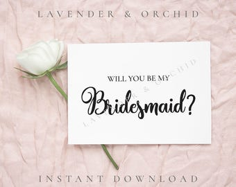 Will you be my bridesmaid card, Bridesmaid proposal card, Maid of honor, Flower girl card, Instant download, Proposal cards, Bridesmaid card