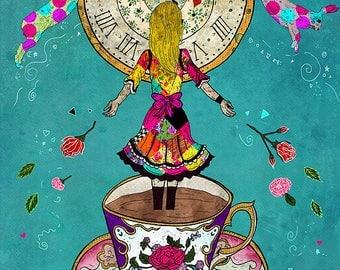 ALICE'S DREAM 5x7 Fine Art Print // Alice in Wonderland Inspired, Wonderland Decor, Wonderland Illustration, Wonderland Art, Alice Decor