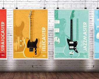 Fender iconic guitars artwork print collection. Contains 4 artworks st quality prints. Stratocaster,  telecaster, jazzmaster, jaguar