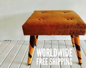 Genuine Leather Buttoned Handmade Mid Century Modern Foot Stool , Ottoman , Foot Rest