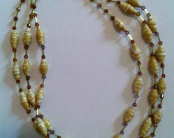 painted and glazed yellow colored paper beads necklace