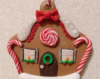 Polymer Clay Gingerbread House Christmas Tree Decoration