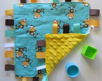 Sensory Tag Blanket baby flannelette and Minky blanket. Taggie Blanket