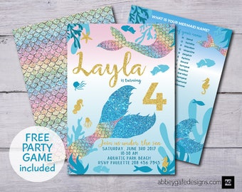 Mermaid Invitation, Mermaid Birthday Invitation, Girl Birthday Invite, Mermaid Party, Under the Sea, Mermaid Party Invitation, Mermaid Game
