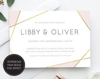 Printable Geometric Wedding Invite/ RSVP/ Save the date/ Thankyou card/ PDF/ Download/ Custom/ Libby suite #065