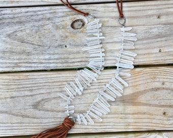 Long Beaded Boho Tassel Necklace-white quartz