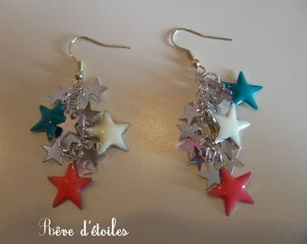 Silver Stars earrings, pink, green and white