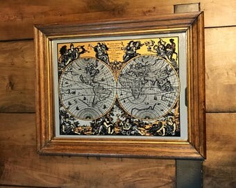 World map mirror etsy vintage mappe monde old world map mirror old world map bar mirror style world gumiabroncs Gallery
