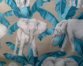 LARGE wide fabric 100% cotton printed elephants 280cm wide
