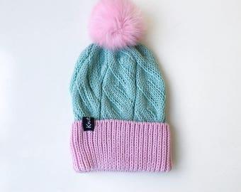 Valentine's Gift, Gift for Girlfriend | Wife Winter Pom Pom Hat, Ready to Ship, Knit Hat with Pom, Women Winter Hat, Beanie Hat with Pom