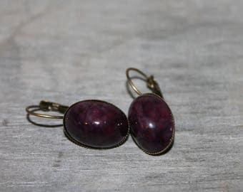 Czech glass antique purple quartz - earrings metal color bronze.
