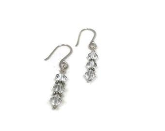 Sterling silver and Swarovski crystal earrings  Handmade silver earrings  Argentium silver earrings