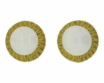 Miriam Haskell 1960s Milk Glass and Fabric Vintage Earrings