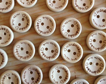 10 Piece Round 15mm Wooden Buttons 'Handmade With Love' Buttons for Clothing Sewing Scrapbooking
