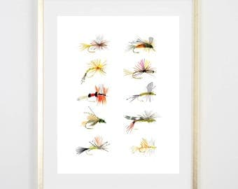 Fly Fishing Print / Flies / Fly Tying Painting / Father's Day Fishing / Birthday Gift for him /Decor /Gift for Dad / house warming