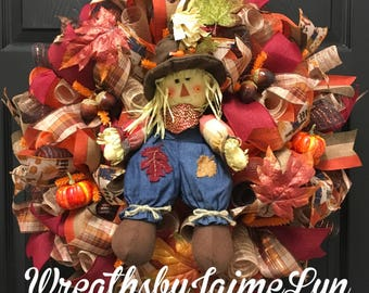 Scarecrow wreath, fall wreath, scarecrow deco mesh wreath, autumn wreath, scarecrow decor, front door wreath, fall decor, autumn decor
