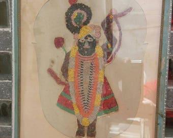 An adorable beadwork Shrinathji from Gujarat in a cut work mount Free shipping.