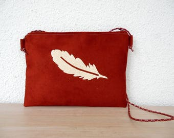 Golden Feather orange red suede pouch