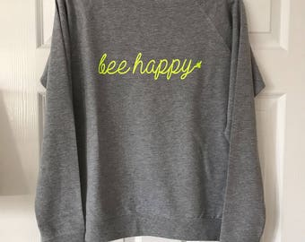 be happy sweater, womens sweater, summer jumper, slouchy sweat, bee happy, ladies sweater, grey, fashion, neon jumper, metallic sweater