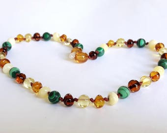 Rainbow baltic amber necklace for kids amber with malachite gemstone beads necklace amber teething necklace amber baby jewelry amber gift