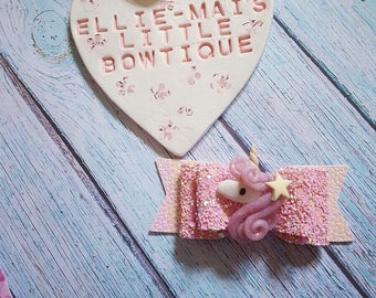 Pink Sparkle Unicorn Bow