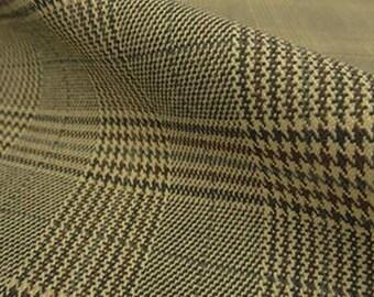 1.5 yards Beige/Brown/Multi Glen Plaid Stretch Suiting Fabric 52W