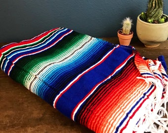 Blue Green Purple Red Mexican Blanket with Fringe - Multi Color Throw Blankey - 1970s inspired