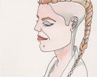 Bald Braid Face. Fine Art, Watercolor Painting, Gift Art, Small Art, Watercolor, Painting