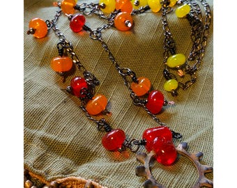 Industrial Necklace & Earring Set - Fire Glass with Star Washer Pendant