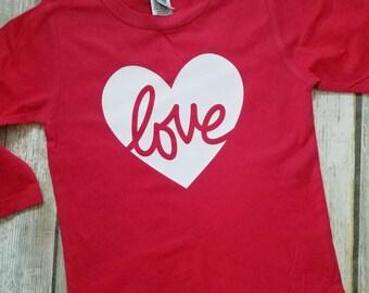 Script Love Heart Shirt, Love Heart long sleeved shirt, Heart Love Shirt, Valentine shirt for girl, Valentines shirt for toddler