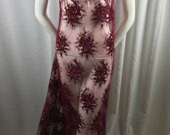 Lace Fabric - Burgundy Gaviota Design Embroider Beaded Mesh Dress Wedding Decoration Bridal Veil Nightgown By The Yard