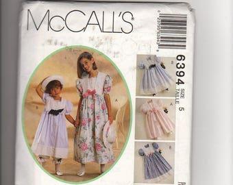 McCalls 6394- sewing pattern: girls dress, Pantaloon and hatband, Kitty Benton, front buttoned dress, short gathered sleeve, size 5, vintage