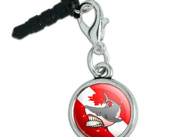 Angry Shark Scuba Diving Flag Diver  Mobile Cell Phone Headphone Jack Anti-Dust Charm fits iPhone iPod Galaxy
