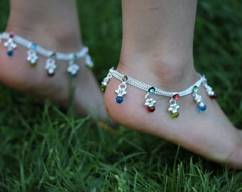 Stunning Anklet- Multi coloured Gems Anklet bells - Bollywood Anklet payal - multi colour Diamonte Anklets - Indian wedding Kids Girls payal