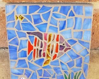 10x10cm glass mosaic fish