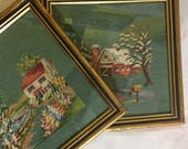 Vintage Embroidery Needlepoint Folk Art 1967 Framed x 2 Fibre Art