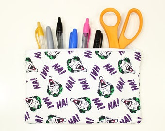 "Joker Fabric Pencil Pouch – 8"" x 5"" Joker Fabric Pencil Bag – Joker Fabric Bag – Joker Fabric Pouch – Ha Ha Ha Pencil Bag"