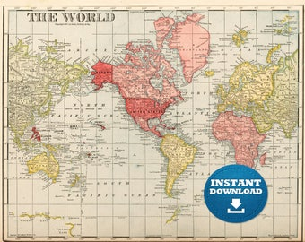 Digital Old World Map Hight Printable Download Vintage - Usa map high resolution