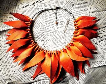 Orange Leather Necklace