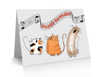 "A6 Birthday Card ""Catz Chorus"" singing happy birthday, ginger, calico, brown kitty,"